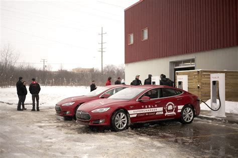 tesla s cross country rally supercharger by supercharger