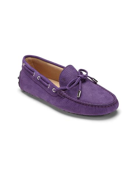purple loafers tod s suede driver loafers in purple for