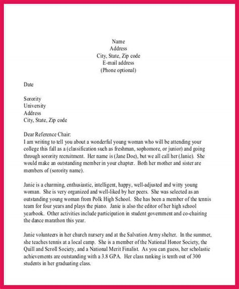 sorority recommendation letter sle sorority recommendation letter sle