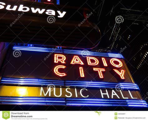 neon light signs nyc radio city music hall neon sign editorial image