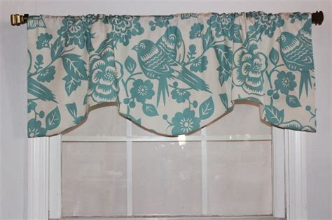 Turquoise Swag Curtains Birds Shaped Valance In Light Turquoise