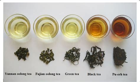 tea color the shapes and tea soup color of different types of tea