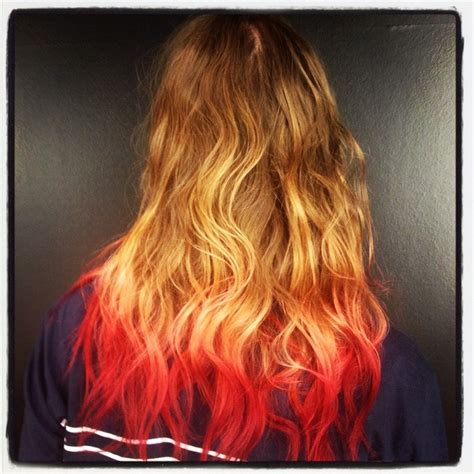 dip dyed red hairstyles brown blonde pink red dip dye hair ace pinterest