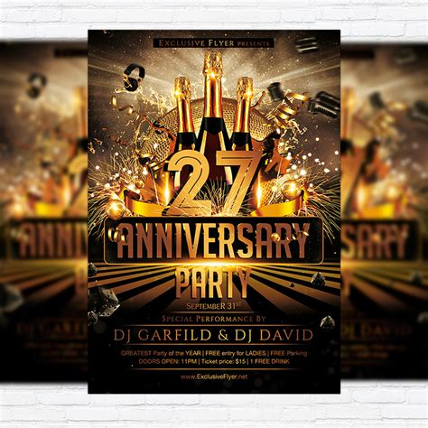 anniversary party premium flyer template facebook