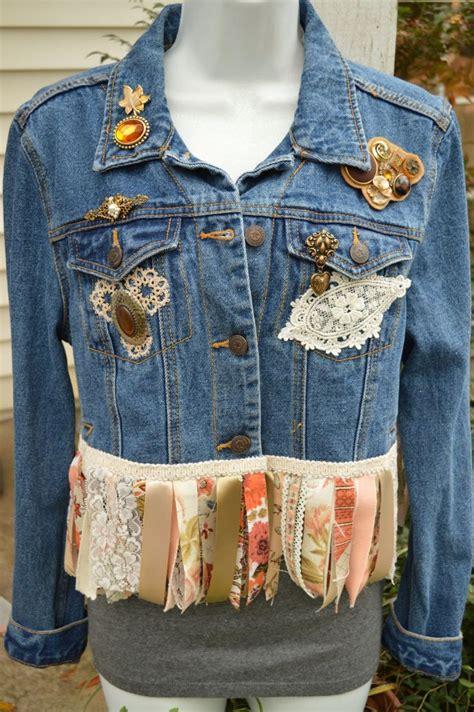 upcycled denim upcycled denim fringed cropped blue jean jacket boho