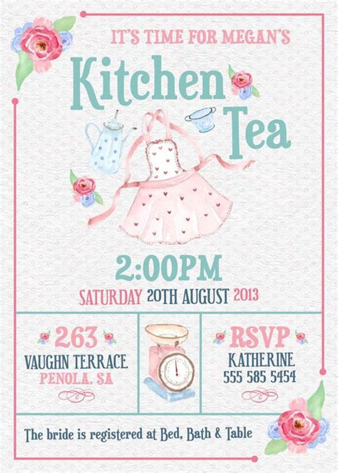 Kitchen Tea Invites Ideas Kitchen Tea Invitation Or Bridal Shower Tea Invitation Pink Blue Blush Watercolor Printable Diy