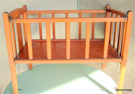 Vintage Rustic Cottage Chic Wood Baby Doll Crib 1940s 1950s Wooden Baby Cribs
