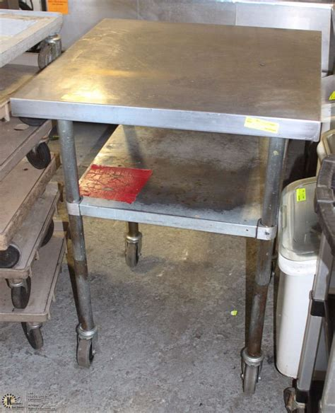 rolling stainless steel work table stainless steel rolling work table 30x30x39 kastner auctions