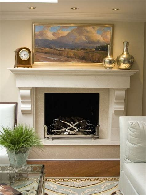 fireplace design like the simple mantle with the braces
