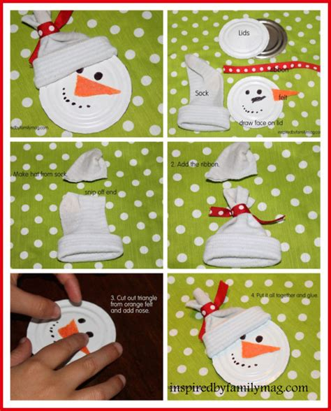 recycled christmas ornament craft snowman inspired by