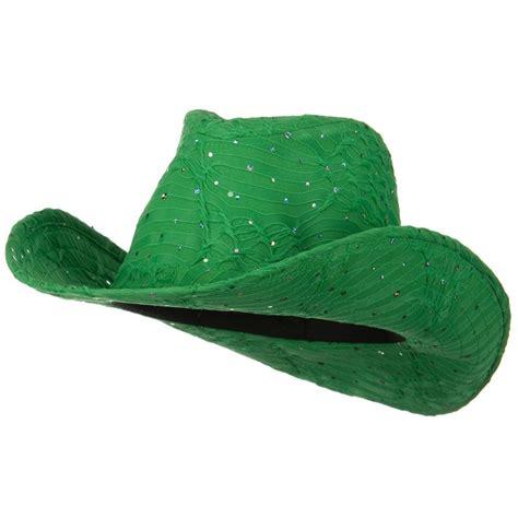 Green Polyester Woman Glitter Cowboy Hat: Cowboy Hat