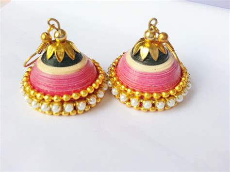 Jhumkas With Paper - wedding jhumka pink n black things to buy paper