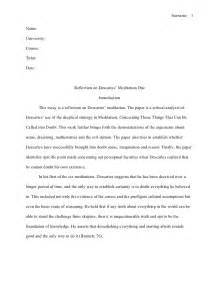 Apa Reflective Essay by Mla Style Essay Reflection On Descartes
