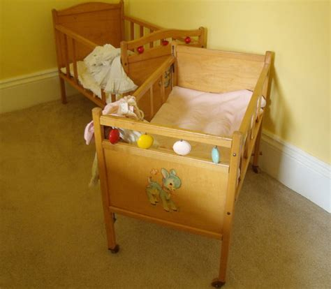 large wooden crib vintage doll bed bros co
