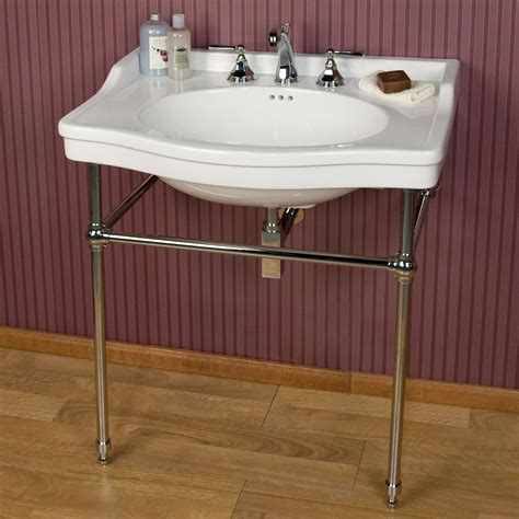 console sink luciana console sink with brass stand 8 quot widespread