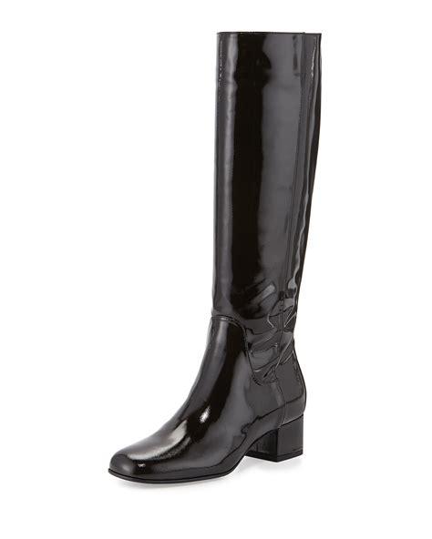 aquatalia larkin patent leather knee high boots in black