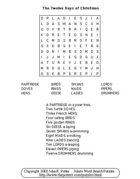 John S Word Search Puzzles Kids Twelve Days Of Christmas Twelve Days Of Coloring Pages