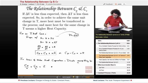 the relationship between cp cv physical chemistry