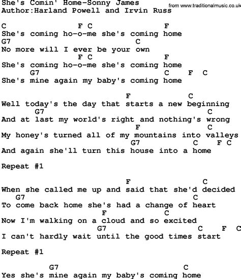 country she s comin home sonny lyrics and chords