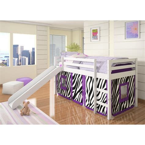 bed with slide donco loft tent bed with slide white