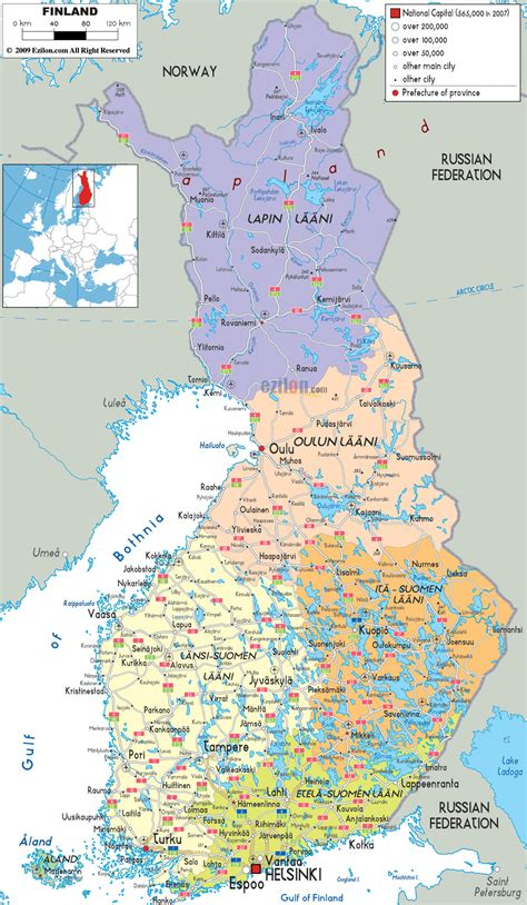 map with cities maps of finland detailed map of finland in travel map of finland road map of