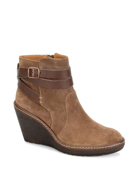 s 246 fft caralee suede wedge ankle boots in brown lyst