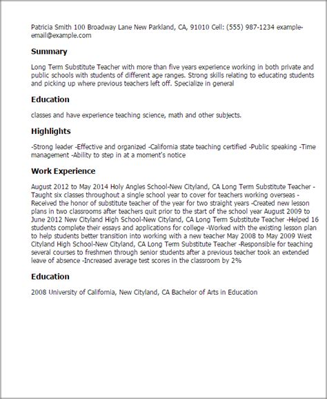 long term substitute teacher resume template best design
