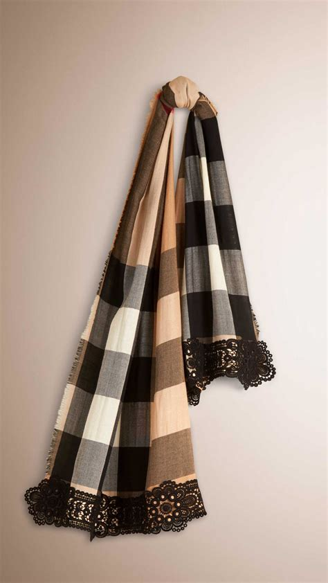 12 Most Stylish Burberry Scarves by Burberry Lace Trim Check Scarf In Black For