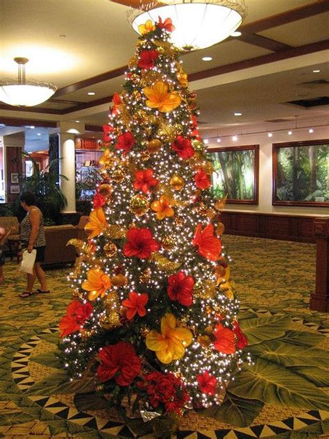 hawaiian christmas tree tropical decor pinterest