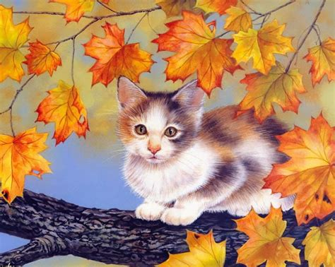 cat painting pics autumn cat paintings maday