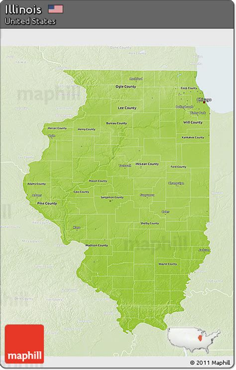 illinois physical map free physical 3d map of illinois lighten