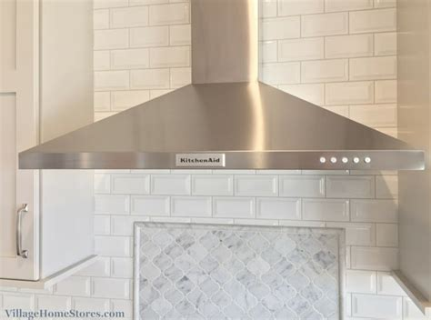 carrara marble subway tile kitchen backsplash kitchenaid stainless chimney style and carrara