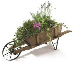 decorative classic wooden wheelbarrow planter