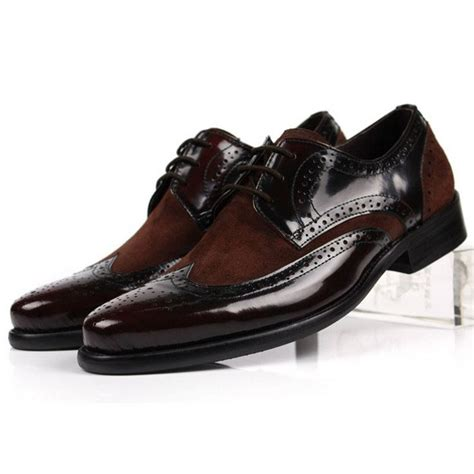 new genuine two tone leather oxford lace up brogue wingtip