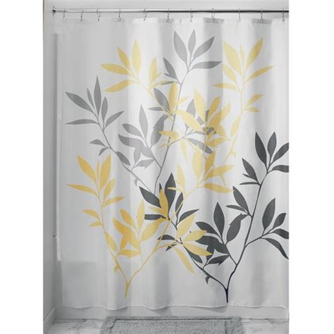 leaves shower curtain interdesign leaves shower curtain gray and yellow 72