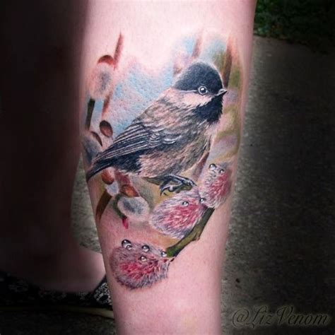 bombshell tattoo edmonton ab lizvenom beautiful realistic chickadee tattoo by amazing