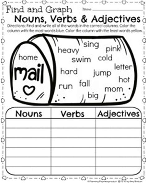 Nouns Verbs Adjectives Worksheet by 1st Grade Math And Literacy Worksheets For February