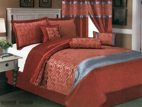 rust bedding 7 pc satin striped leaf leaves jacquard comforter set rust