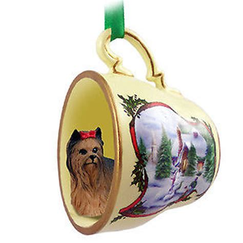 yorkie dog christmas holiday teacup ornament figurine