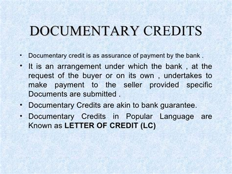 Documentary Credit Letter Letter Of Credit