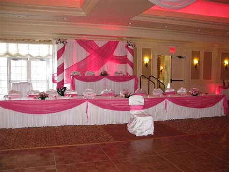 table decorations and backdrop for a quinceanera at d