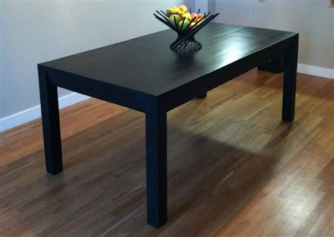 Dining Room Table And Bench black dining table oak parsons design by wicked boxcar
