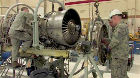 Jet Engine Mechanic by F 16 Jet Engine Shop Foreign Object Damage Repair