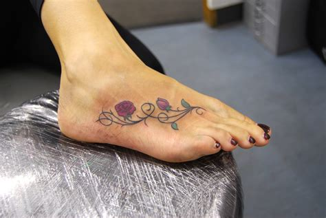 rose vine ankle tattoos 55 beautiful tattoos on foot
