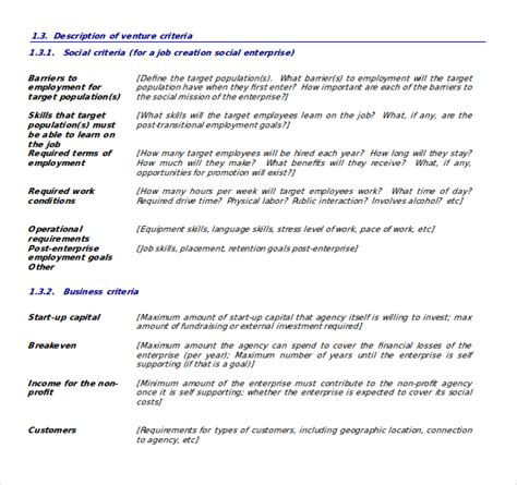 social enterprise business plan template business plan templates 43 exles in word free