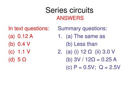 series resistors questions ppt aqa gcse physics 2 5 current electricity powerpoint presentation id 418298