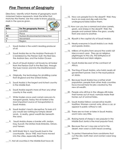 five themes of geography worksheet answers 18 best images of five themes of geography worksheets 5