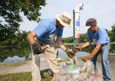 mcnally boat landing winona volunteers expand fishing line recycling containers along