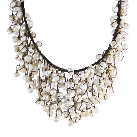 Handmade Bib Necklace - handmade trendy pearls waterfall bib necklace