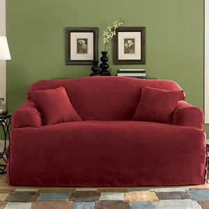 Loveseat Slipcovers Walmart Sure Fit Soft Suede T Cushion Loveseat Slipcover Walmart